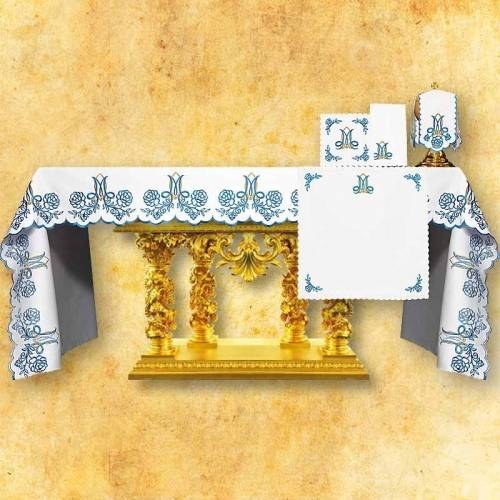 Nappe d'autel Mariale bleu