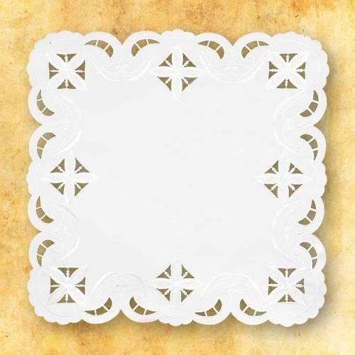 """Serviette d'autel """" Des Croix dans le carre - blanc """""""