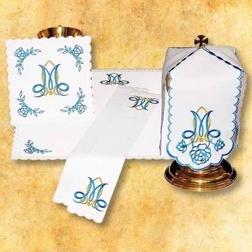 Linge d'autel MARIALE bleu
