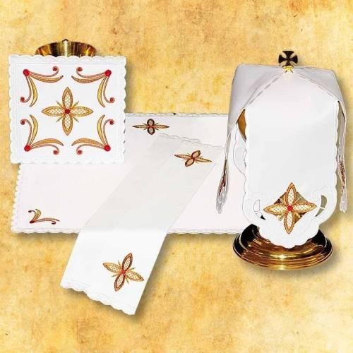 """Linge d'autel """" Des Croix dans la Carre - blanc"""""""