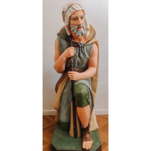Le berger avec bâton a genoux - 120 cm